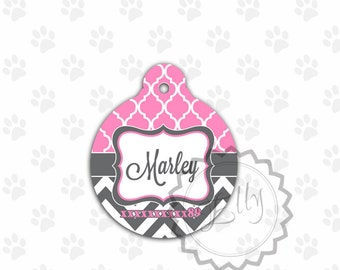 Pink and Charcoal Pet Tag, cute round metal ID, custom tags for pets, personalized tags, rpind cat id tag, custom pet name, pet tag