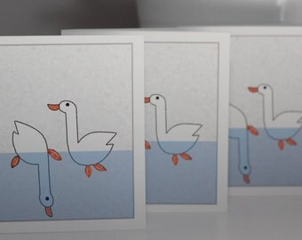 Swimming Geese Mini Note Cards - Set of 6 With Envelopes