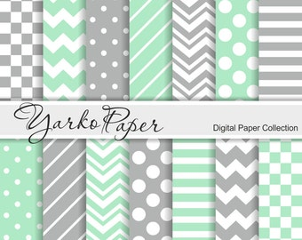 Mint And Grey Digital Paper Pack, Chevron, Polka Dot, Stripes, Gray, Basic Geometric Paper, Digital Background, 14 Sheets - Instant Download