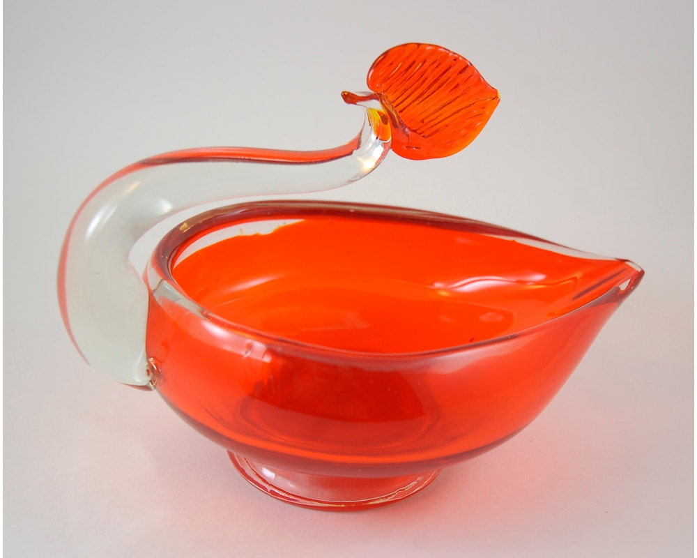 Vintage Glass Cigar Ashtray Bowl Orange And By