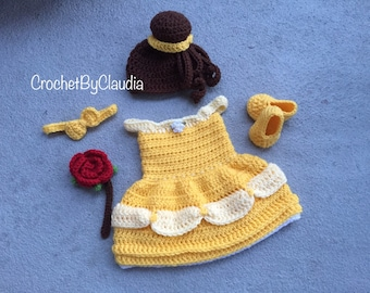 Crochet Belle Inspired Dress and PhotoProp Set/ Belle Dress/ Princess Dress/Made to Order