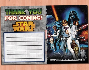 Star Wars Thank You Card - INSTANT DOWNLOAD Printable Star Wars Thank You Card - Star Wars Birthday Thank You - Birthday Party Ideas