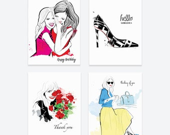 Red Lips Assorted Card Set  - Greeting Cards, Fashion Illustration, Thank You Cards, Happy Birthday Cards, Thinking of You Cards
