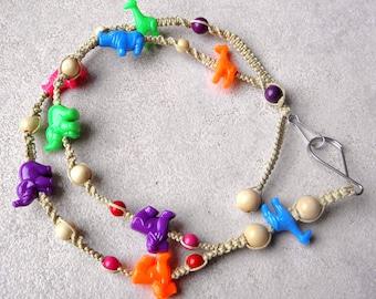 Hemp lanyard with brightly colored zoo animal beads