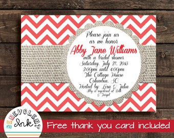 Bridal Shower Invitation Chevron - Red Bridal Shower Invitation with FREE Thank You Card