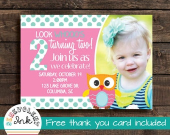 Printable Owl Birthday Invitation - Look Who's Turning Two Party Invite with FREE Thank You Card