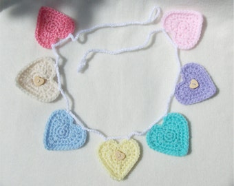 Crochet 7 Heart Bunting, Garland - Custom - MADE TO ORDER