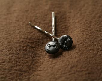 Fleur de Lis Button Bobby Pins