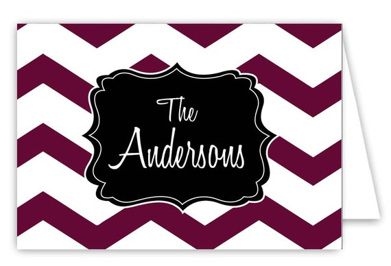 Personalized Chevron Folded Note Cards - Set of 30 Monogram Notes