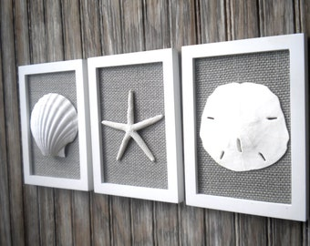 Cottage Chic Set of Beach Wall Art, Nautical Decor, Beach House Wall Decor, Sea Shell Art, Beach Decor, Coastal Art, White & Grey Burlap