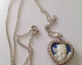 Vintage Sterling Cherub Pendant Necklace