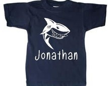SHARK - ocean themed Personalized Kid's t-shirt tee shirt with any name - many colors and sizes