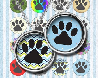 HAPPY PAWS - Digital Collage Sheet – 16mm & 12 mm circles– Printable Download for Pendants, Earrings, Charms