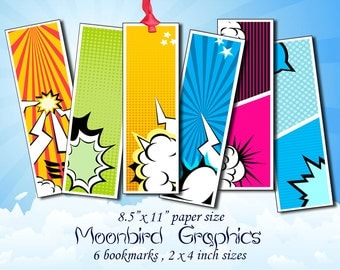 COMICS BOOKMARKS -  Digital Collage Sheet – 2 x 4 inch size   – Printable Instant Download for your craft