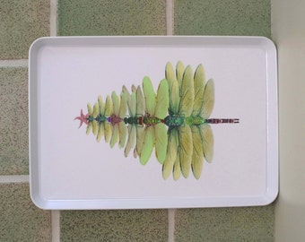 Dragonfly tree serving tray, melamine serving tray.green  Dragonfly.  Dragonfly watercolor. original art. wedding gift,Dragonfly lovers gift