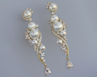 Gold Crystal and Pearl Wedding Earrings, Gold Chandelier Earrings, Gold Pearl Earrings,  Crystal Bridal  Earrings,  LILLY