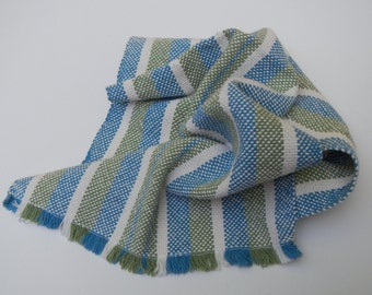Handwoven striped towel- blue, green, and white