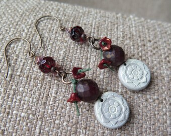 red earrings, ruby earrings, maroon earrings, marsala earrings, burgundy earrings, unique earrings, long earrings, long red earrings, floral