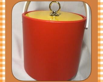 Vintage Orange and Yellow Vinyl Ice Bucket