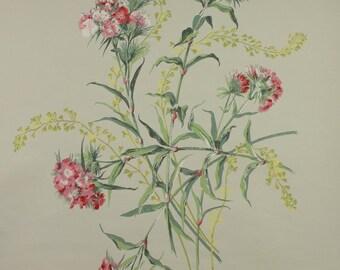 1950s Original Floral  Red Swedish  Röda blommor av kärle Vintage Wallpaper