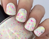 Tropical Paradise-White Crelly with Neon Glitter Mix Indie Nail Polish by Noodles Nail Polish