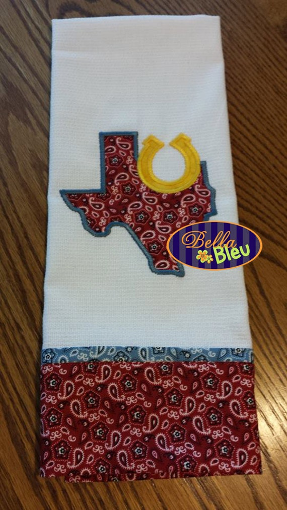 Texas state applique with horse shoe embroidery design