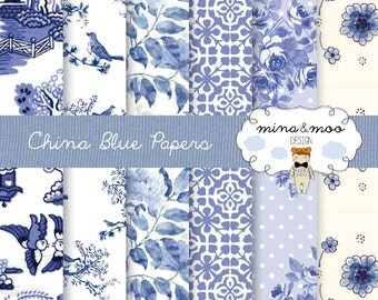 China Blue - digital papers - China Blue Patterns - Decoupage Paper - Scrapbook Paper - Blue and White - Porcelain pattern - Chinese pattern