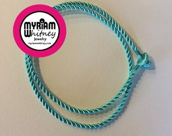 Blue Turquoise Silk Cord Necklace for Pendant and Jewelry - Ocean Breeze Turquoise Rope Necklace