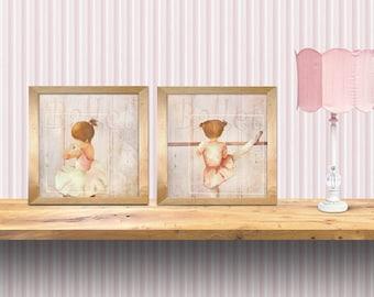 set of 2 art rprints, little ballerina theme - perfect for girls room, dance schools, nursery art