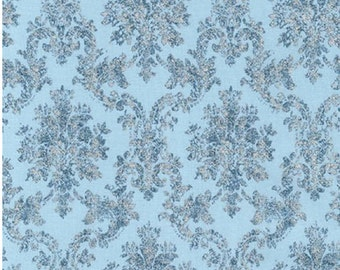 Blue Damask Floral Fabric FROST by Lynnea Washburn from Winter White Robert Kaufman Fabric
