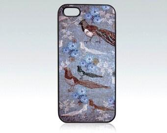 Bird iPhone 5 case, floral iPhone 5s cover, blue iPhone SE case, art, unique, pheasant, drawing, nature, orient