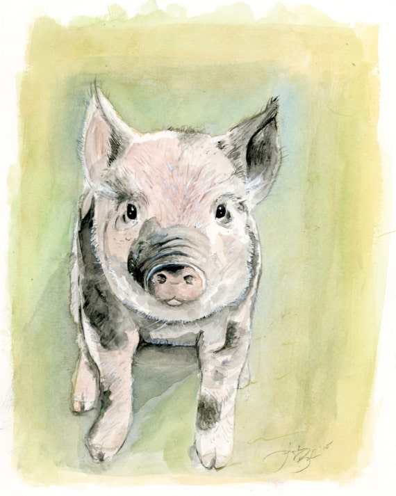 Farm Animals Kitchen Decor Mini Pig Original Watercolor