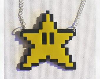 Super Mario Inspired Invincibility Star Acrylic Necklace