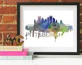 Pittsburgh Art, Pittsburgh Skyline, Pittsburgh map, Pittsburgh skyline, Pittsburgh map print