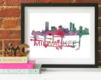 Milwaukee Art, Milwaukee Skyline, Milwaukee map, Milwaukee skyline, Milwaukee map print