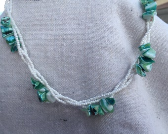 Braided Aqua Shell Necklace and Earring Set