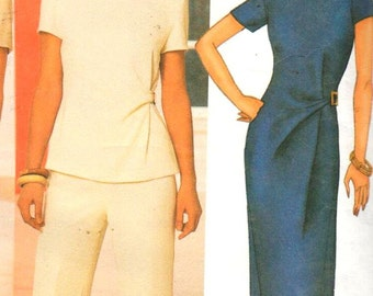 Butterick 6583, Sz 6-16.  Chic Side-cinched  Ladies Dress in 2 lengths/Top & Tapered Pants/Pant Suit, David Warren pattern, UNCUT.
