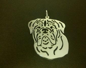 Dogue de Bordeaux Sterling silver Saw Pierced pendant
