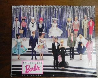 Vintage Barbie Doll Nostalgic Calendar 1991 By Mattel