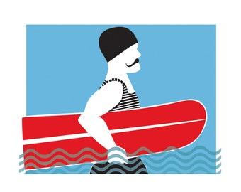Vintage Surfer A4 print   Arthur Roy retro swimmer   Unframed Surf Art