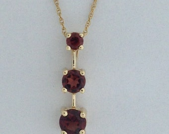 Journey Pendant Natural Garnet 10kt Yellow Gold