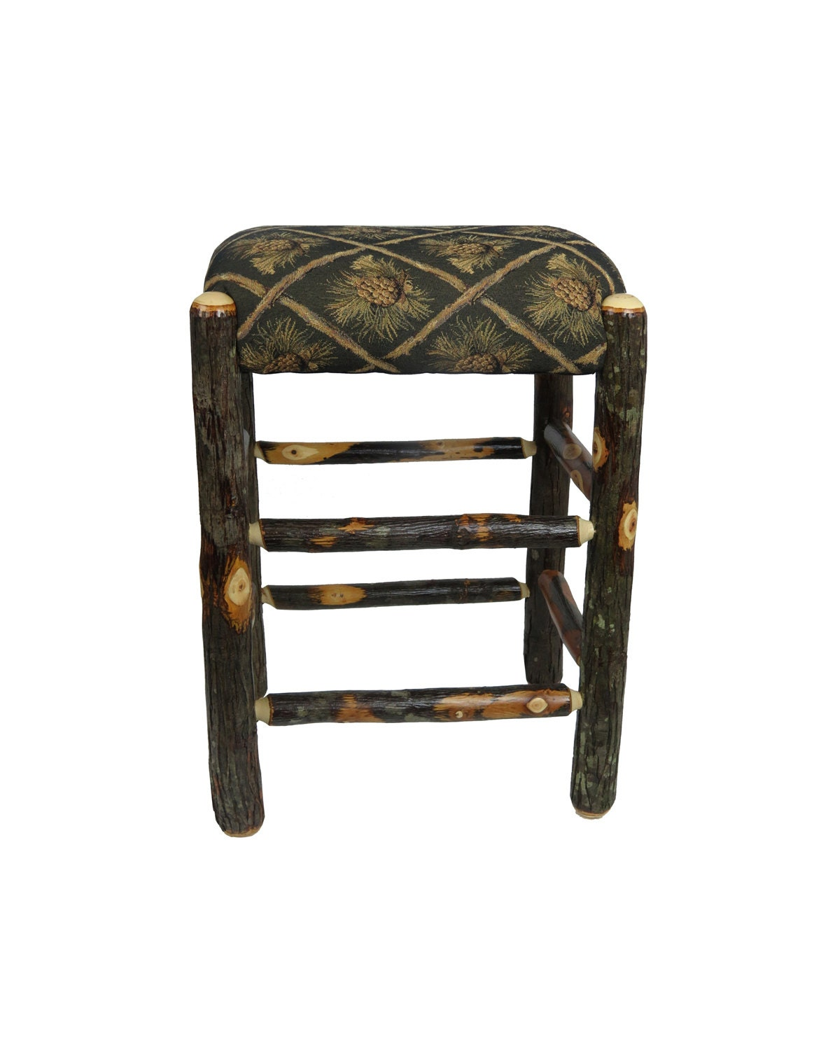 24 inch rustic hickory upholstered bar stool backless with. Black Bedroom Furniture Sets. Home Design Ideas