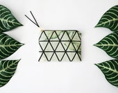 FLORAL TRIANGLES/ fabric money wallet with hand printed triangle print on floral tropiucal print fabric, jungle palm pouch