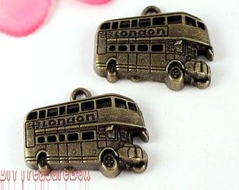 12pcs--Bus Charms, Antique Bronze Tone double decker bus Pendants/Charms 25x20mm
