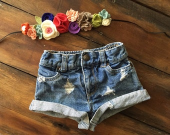 Girls 12 month distressed destroyed denim jean shorts