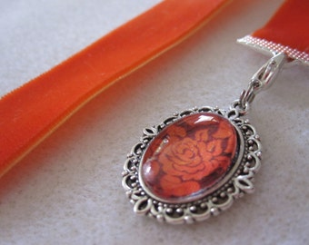 Orange Velvet Ribbon Bookmarks w/Floral Cabochon