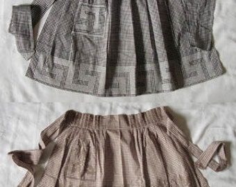 Two Vintage Gingham Aprons with Cross-Stitch / Chicken Scratch Stitched Design (Inventory #M1589)
