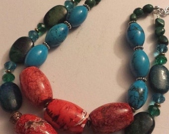 Chunky Big Bold Colorful Statement Necklace Turquoise Necklace Barrel Bead Necklace Heavy Necklace WOW FACTOR KATROX Beach Cruise Summer