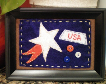 Handstitched Americana USA Picture ~ Primitive Country