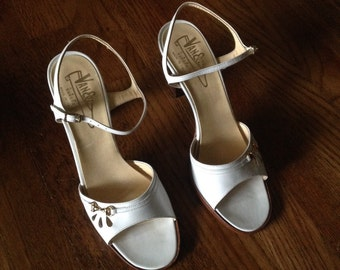 60s White Leather Sandals